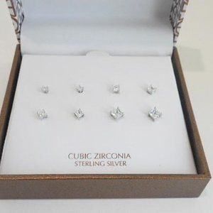 Take 50% off Sterling Silver/CZ Earrings NWT (E90)